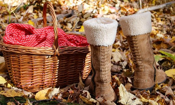 picnic basket and cozy boots