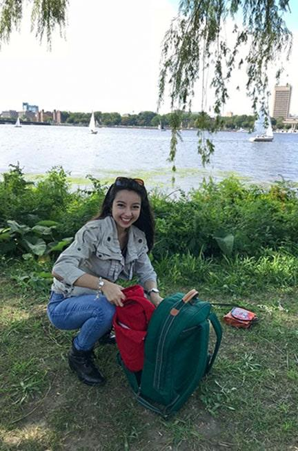 geeves prepping a fall picnic by the charles river
