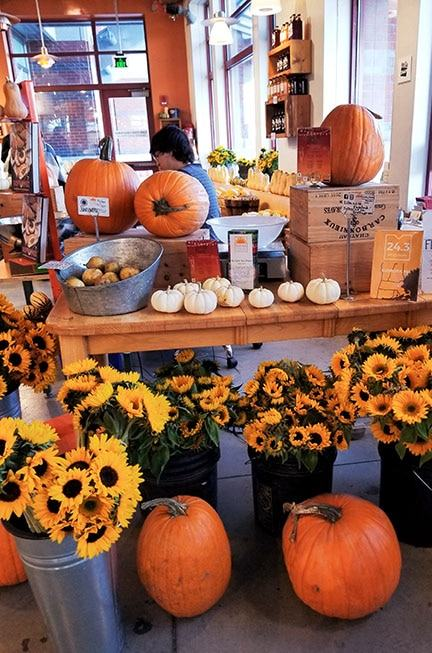 sunflowers and pumpkins displayed in a store shop