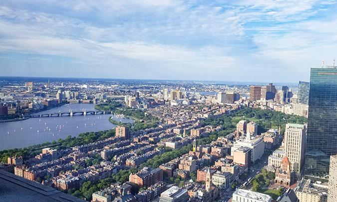 view from skywalk observatory in boston